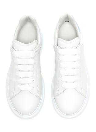Figure View - Click To Enlarge - ALEXANDER MCQUEEN - 'Molly' Iridescent Heel Tab Platform Sole Leather Kids Sneakers