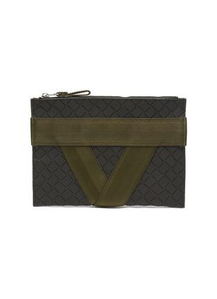 Main View - Click To Enlarge - BOTTEGA VENETA - Textile panel textured rubber medium pouch