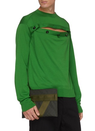 Figure View - Click To Enlarge - BOTTEGA VENETA - Textile panel textured rubber medium pouch