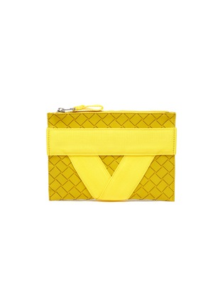 Main View - Click To Enlarge - BOTTEGA VENETA - Textile panel textured rubber medium pouch
