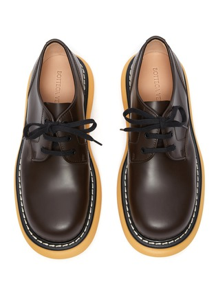 Detail View - Click To Enlarge - BOTTEGA VENETA - Platform Tread Sole Leather Derby Shoes