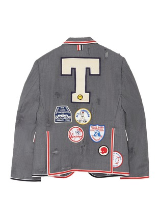 Back View - Click To Enlarge - THOM BROWNE - x Lane Crawford hand embroidered bicolour trim suit