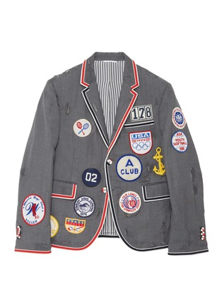 Front View - Click To Enlarge - THOM BROWNE - x Lane Crawford hand embroidered bicolour trim suit