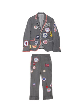 Main View - Click To Enlarge - THOM BROWNE - x Lane Crawford hand embroidered bicolour trim suit