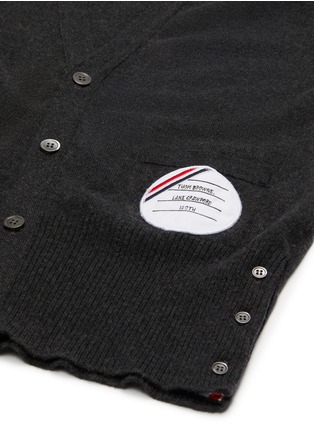 Detail View - Click To Enlarge - THOM BROWNE - x Lane Crawford hand embroidered patch four bar armband cardigan