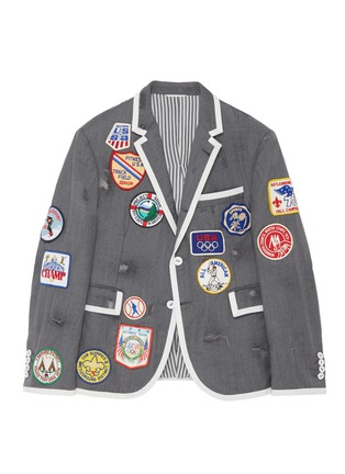 Front View - Click To Enlarge - THOM BROWNE - x Lane Crawford hand embroidered contrast trim suit