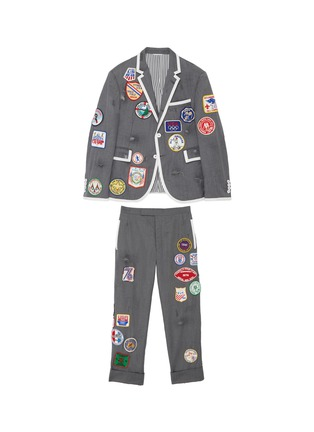 Main View - Click To Enlarge - THOM BROWNE - x Lane Crawford hand embroidered contrast trim suit