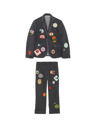 Main View - Click To Enlarge - THOM BROWNE - x Lane Crawford hand embroidered rib trim suit