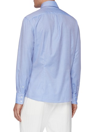 Back View - Click To Enlarge - BRUNELLO CUCINELLI - Spread collar cotton twill shirt