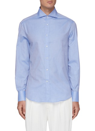 Main View - Click To Enlarge - BRUNELLO CUCINELLI - Spread collar cotton twill shirt