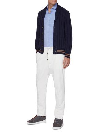 Figure View - Click To Enlarge - BRUNELLO CUCINELLI - Spread collar cotton twill shirt