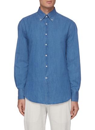 Main View - Click To Enlarge - BRUNELLO CUCINELLI - Medium wash denim shirt