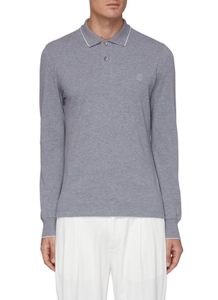 Main View - Click To Enlarge - BRUNELLO CUCINELLI - Logo embroidered polo collar sweatshirt