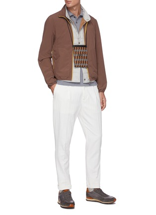 Figure View - Click To Enlarge - BRUNELLO CUCINELLI - Logo embroidered polo collar sweatshirt
