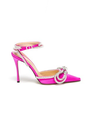 Main View - Click To Enlarge - MACH & MACH - Double crystal bow satin pumps