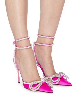 Figure View - Click To Enlarge - MACH & MACH - Double crystal bow satin pumps
