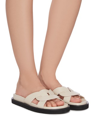 Figure View - Click To Enlarge - PEDDER RED - 'CAMILLE' Intertwine Loop Leather Flat Slides