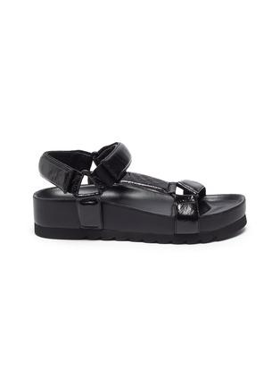 Main View - Click To Enlarge - PEDDER RED - Cecile' Crinkle Leather Strap Platform Sandals