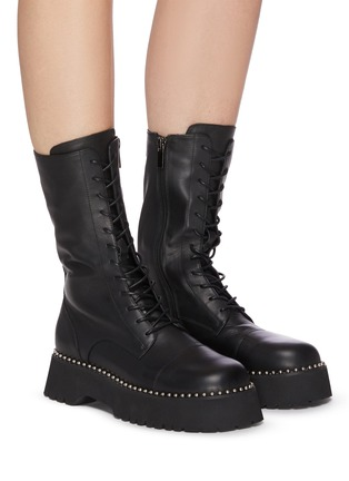 Figure View - Click To Enlarge - PEDDER RED - 'COOPER' Pearl Welt Tread Sole Leather Combat Boots