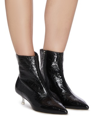 Figure View - Click To Enlarge - PEDDER RED - KIARA' Point Toe Heel Patent Leather Ankle Boots