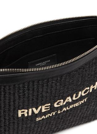 Detail View - Click To Enlarge - SAINT LAURENT - 'Rive Gauche' logo embroidered raffia pouch