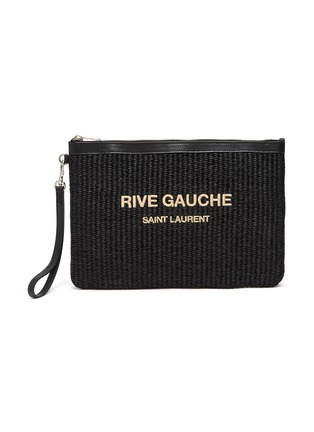 Main View - Click To Enlarge - SAINT LAURENT - 'Rive Gauche' logo embroidered raffia pouch