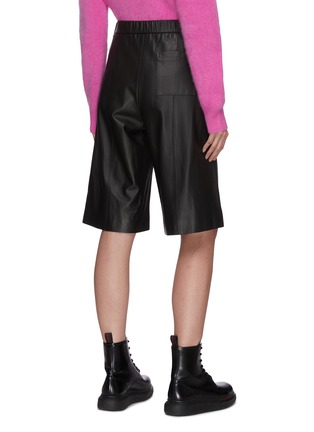 Back View - Click To Enlarge - CRUSH COLLECTION - High Waist Flare Leg Leather Capris Pants