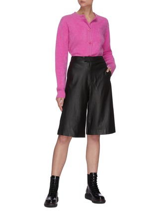 Figure View - Click To Enlarge - CRUSH COLLECTION - High Waist Flare Leg Leather Capris Pants