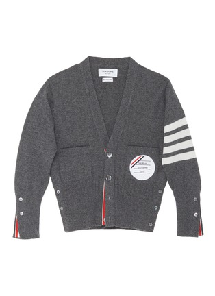 Main View - Click To Enlarge - THOM BROWNE - x Lane Crawford hand embroidered patch four bar armband cardigan
