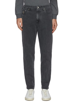 Main View - Click To Enlarge - BRUNELLO CUCINELLI - Logo Embroidered Pocket Slim Fit Denim Jeans
