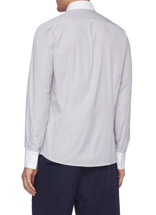 Back View - Click To Enlarge - BRUNELLO CUCINELLI - Contrast cuff stripe French collar shirt