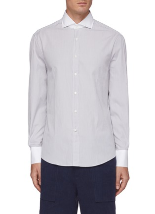 Main View - Click To Enlarge - BRUNELLO CUCINELLI - Contrast cuff stripe French collar shirt