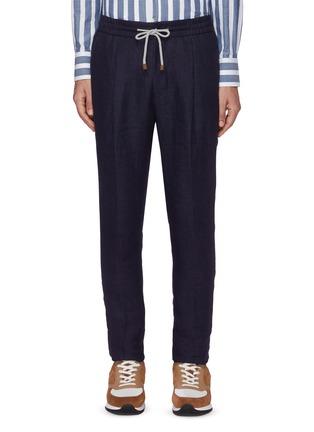 Main View - Click To Enlarge - BRUNELLO CUCINELLI - Elastic waist linen wool pants