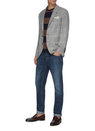 Figure View - Click To Enlarge - BRUNELLO CUCINELLI - Logo Embroidered Pocket Slim Fit Denim Jeans