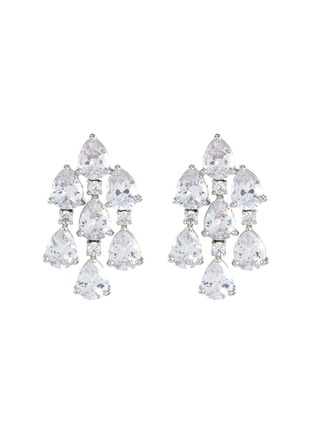 Main View - Click To Enlarge - CZ BY KENNETH JAY LANE - Pear Cut Cubic Zirconia Drape Earrings