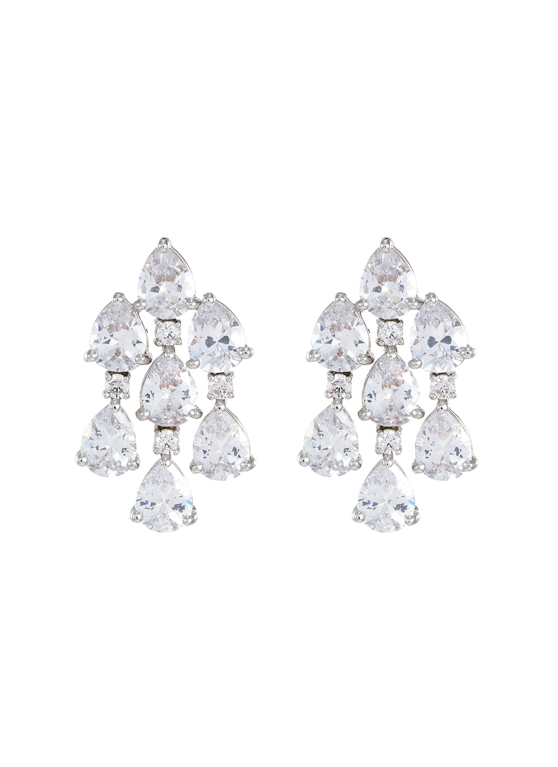 Pear Cut Cubic Zirconia Drape Earrings