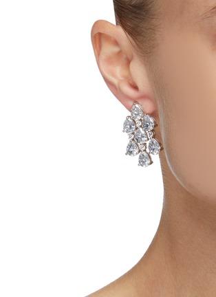 Figure View - Click To Enlarge - CZ BY KENNETH JAY LANE - Pear Cut Cubic Zirconia Drape Earrings