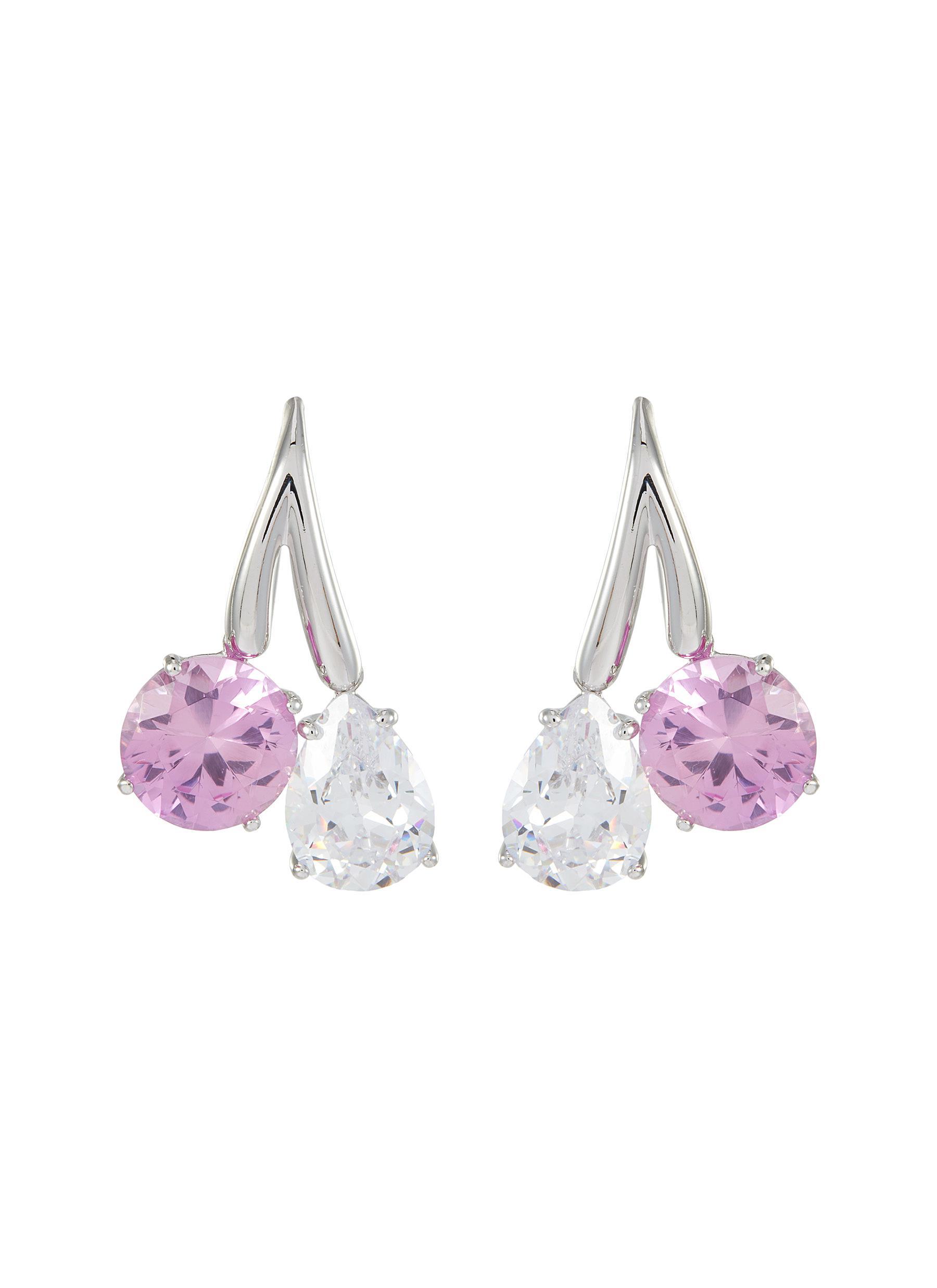 Double Cubic Zirconia Drop Earrings