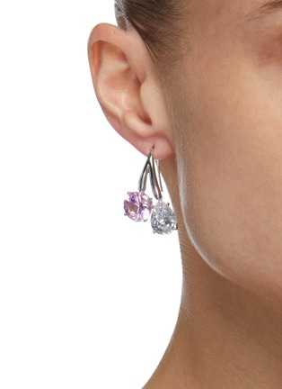 Figure View - Click To Enlarge - CZ BY KENNETH JAY LANE - Double Cubic Zirconia Drop Earrings
