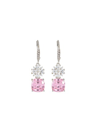 Main View - Click To Enlarge - CZ BY KENNETH JAY LANE - Cushion Cut Cubic Zirconia Radiant Lever Back Earrings