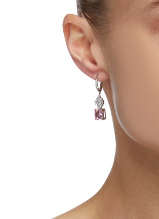 Figure View - Click To Enlarge - CZ BY KENNETH JAY LANE - Cushion Cut Cubic Zirconia Radiant Lever Back Earrings