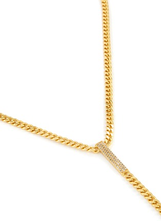 Detail View - Click To Enlarge - CZ BY KENNETH JAY LANE - Cubic Zirconia Bar Curb Chain Lariat Necklace
