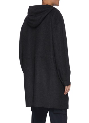 Back View - Click To Enlarge - THEORY - 'DUTTON DF COOL' Hooded Cashmere Wool Blend Long Coat