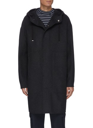 Main View - Click To Enlarge - THEORY - 'DUTTON DF COOL' Hooded Cashmere Wool Blend Long Coat