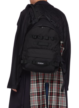 Front View - Click To Enlarge - BALENCIAGA - 'Army' Logo Patch Multi Strap Detail Nylon Backpack