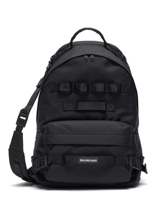 Main View - Click To Enlarge - BALENCIAGA - 'Army' Logo Patch Multi Strap Detail Nylon Backpack