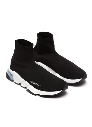 Detail View - Click To Enlarge - BALENCIAGA - 'Speed' Clear Sole nit Slip On Sneakers