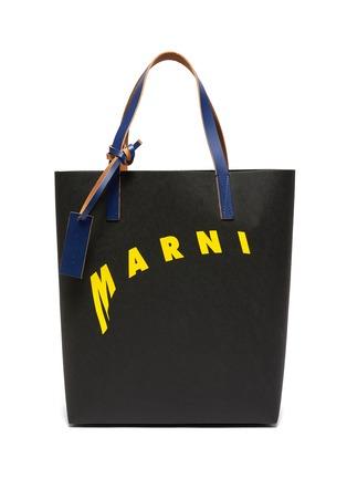Main View - Click To Enlarge - MARNI - Logo print cellulose shopping bag tote