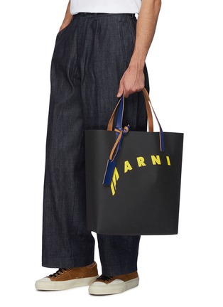 Figure View - Click To Enlarge - MARNI - Logo print cellulose shopping bag tote