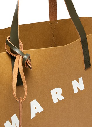Detail View - Click To Enlarge - MARNI - Logo print cellulose shopping bag tote